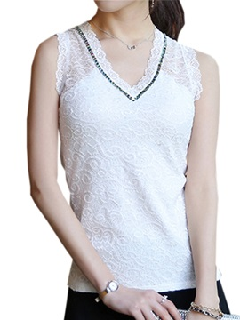 Special V-Neck Lace Tank Top