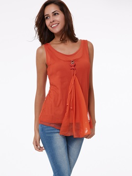 Stylish Double-Layer Mesh Decoration Tank Top