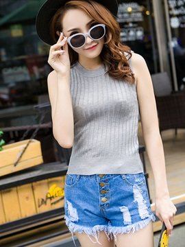 Simple Multi Color Sleeveless Knitted Tank Top