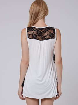 Sweet Lace Round Neck Women's Tank Top