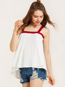 Spaghetti Straps Falbala Backless Tank Top