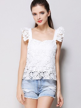 Lace Patchwork Backless Tank Top