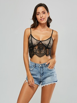 Sexy Lace Patchwork Straps Women's Tank Top