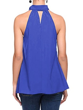Pleated Halter Summer Plain Women's Tank Top
