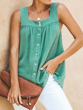 Suspenders Summer Button Women's Tank Top