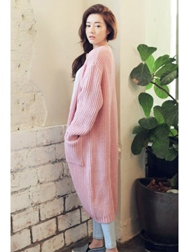 Solid Color Thicken Double Pockets Long Cardigan