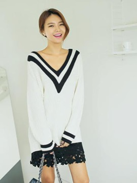 Fashion Double V-Neck Loose Sweater