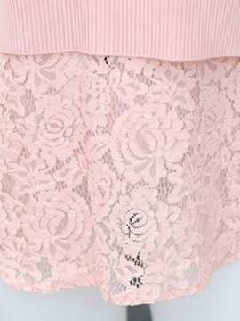 Stylish Solid Color Double-Layer Hemline Knitwear