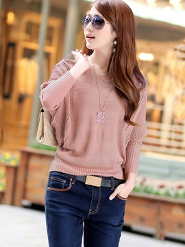 Stylish Solid Color Batwing Sleeve Sweater
