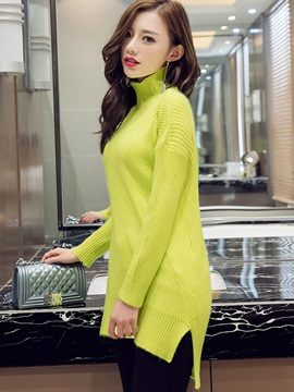 Simple Multi Color Turtle Neck Sweater