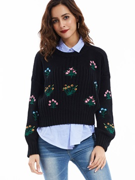 Stylish Drop-Shoulder Sleeves Embroideried Knitwear