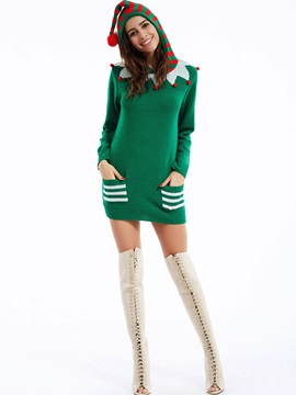 Stylish Christmas Color Block Hooded Knitwear