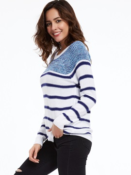 Stylish Color Block Round Neck Striped Knitwear