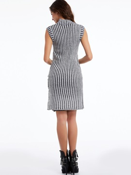 Chic Pullover Stand Collar Stripe Sleeveless Knitwear