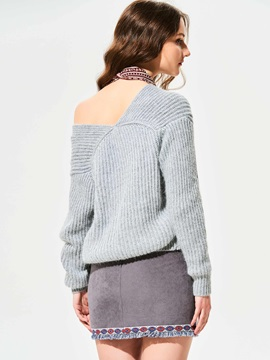 Stylish Plain V-Neck Drop-Shoulder Knitwear
