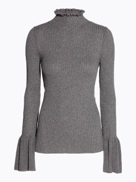 Turtle Neck Slim Bell Sleeve Knitwear
