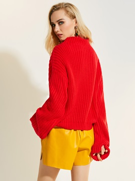 Christmas Stylish Loose Plain Pullover Knitwear
