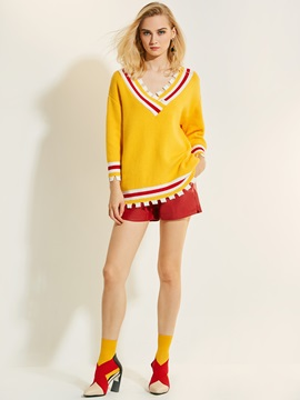 Loose V-Neck Patchwork Knitwear