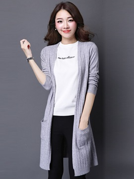 Simple Plain Mid-Length Cardigan