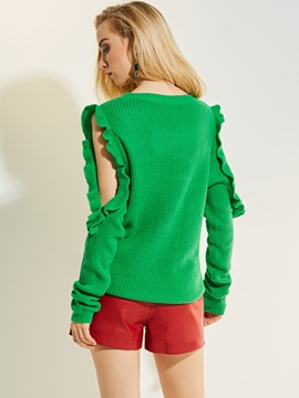 Plain Cold Shoulder Falbala Knitwear
