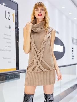 Turtle Neck Sleeveless Mid-Length Knitwear