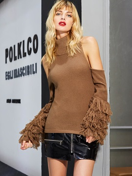 Turtle Neck Plain Cold Shoulder Tassel Knitwear