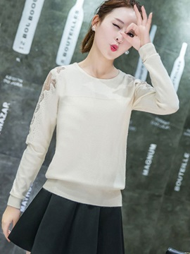 Pullover Mesh Patchwork See Through Knitwear