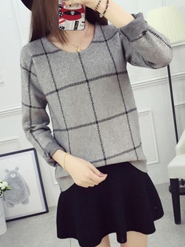Plaid Loose Thick Pullover Knitwear