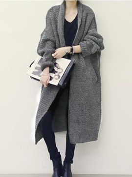 Plain Long Knitted Women's Cardigan