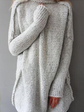 Mid-Length High Neck Women's Sweater