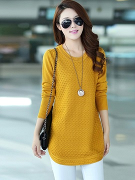 Long Sleeve Loose Mid-Length Round Neck Knitwear