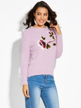 Straight Floral Plain Pullover Women's Sweater