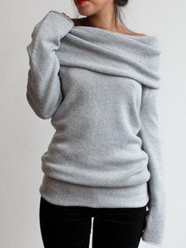 Long Sleeve Pullover Haep Collar Knitwear
