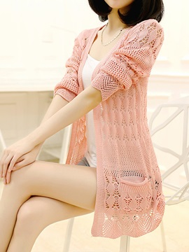 Hollow Long Sleeve V-Neck Women's Knitwear