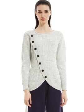V-neck Mottled Button Women's Knitwear