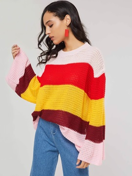 Color Block Loose Flare Sleeve Women's Sweater