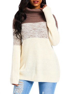 Color Block Patchwork Mid-Length Fall Women's Sweater