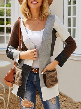 One Button Regular Thick V-Neck Loose Women's Sweater