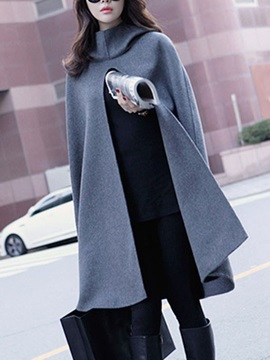 Euroamerica Style Hooded Loose Cape