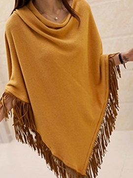 Stylish Heap Collar Tassel Hem Cape
