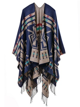 Ethnic Pattern Tassel Decorated Cape