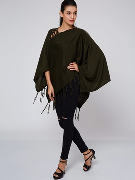 Stylish Solid Color Tassel Decorated Cape