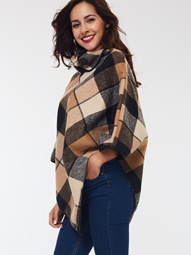 Stylish Check Pattern Short Cape