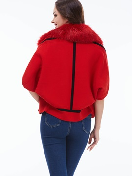 Stylish Faux Fur Collar Slim Cape