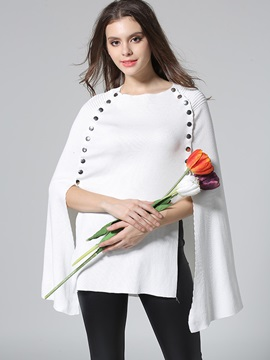 Stylish Button Mid-Length Cape