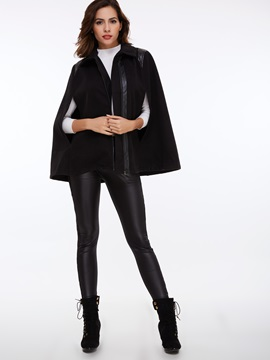 Stylish Asymmetric Zipper Loose Cape