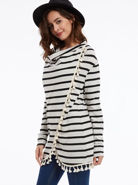 Stylish Loose Pullover Tassel Stripe Cape