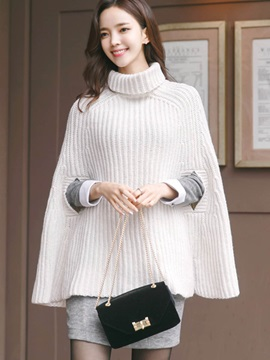 Stylish Heap Collar Plain Cape