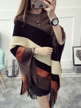 Striped Tassels Women's Cape