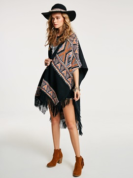 Geometric Color Block Wrapped Women's Cape